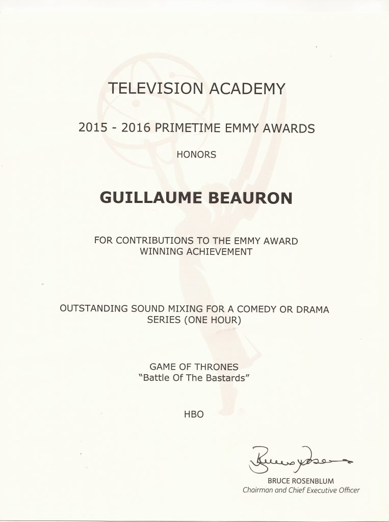 Emmy Awards Guillaume Beauron 2015-2016